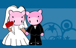 Pig married cartoon background Royalty Free Stock Photo