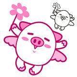 Pig Mascot flying to the sky. Animal Character Design Series. Stock Photo