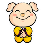 Pig Mascot is a polite greeting. Animal Character Design Series. Stock Image
