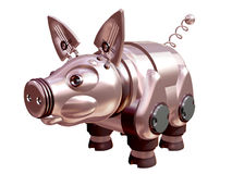 A pig is mechanical is metallic. 3D. Stock Photography