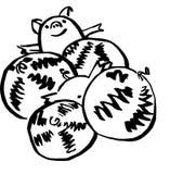 Pig and melon vector illustration