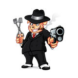 Pig Mob BBQ. Cartoon pig mobsters was put the gun while holding barbeque grills and smoking a cigar Royalty Free Stock Photo