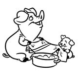 Pig mom and little piggy coloring page Royalty Free Stock Photos