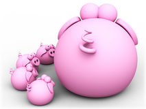 Pig mom and piglets. Computer generated royalty free illustration