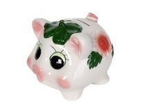 Pig money box. Money box looks like a colorful pig with hole Royalty Free Stock Photography