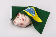 Pig money box and Brasil flag Stock Photos