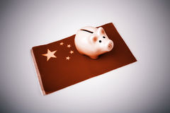 Pig money box and China flag Stock Photos