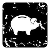 Pig money box icon, grunge style Stock Images