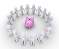 Pig money box and people around it. 3d pig money box and many people form a circle around it Royalty Free Stock Photo