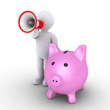 Pig money box and person with megaphone. 3d pig money box and a person speaking through a megaphone Stock Photo