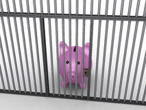 Pig money box in prison. 3d pig money box is in prison behind bars Royalty Free Stock Photography