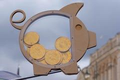 Pig money box, saving and investment money, stylish decorativ money box, piggi bank. Stock Photos