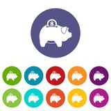 Pig money box set icons Royalty Free Stock Images