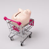 Pig money box in shopping cart on white background Stock Image