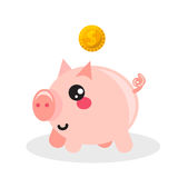 Pig money box vector icon. Stock Images