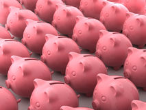 Pig money boxes. 3d render of pink pig money boxes Royalty Free Stock Images