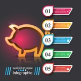 Pig money - business infographic. Pig money - 3d business infographic. Vector eps 10 Royalty Free Stock Images