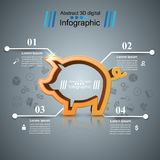 Pig money - business infographic. Vector eps 10 Royalty Free Stock Images