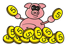 Pig with money Stock Image