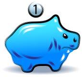 Pig money saving box. Illustrated clip art Royalty Free Stock Photos