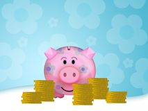 Pig moneybox. Illustration of a pink pig moneybox Royalty Free Stock Image