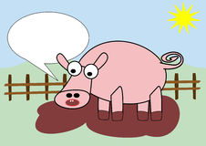 Pig in mud. Cartoon pig in a sty full of mud with blank text bubble Royalty Free Stock Image