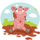 Pig in the mud. Funny cartoon pink pig sitting in the mud Royalty Free Stock Images