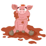 Pig in the mud. Funny cartoon pink pig sitting in the mud Stock Photo