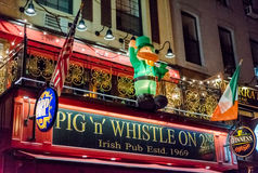 Pig n Whistle Irish Pub in New York City. Every day is St. Patrick's Day at the Pig 'n' Whistle Irish Pub in New York City. Established in 1969, the pub has Stock Images