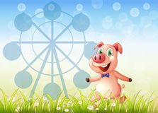 A pig near the ferris wheel at the hill. Illustration of a pig near the ferris wheel at the hill Royalty Free Stock Photo