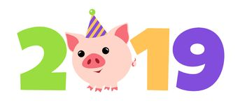 A pig for new year 2019. Symbol in the Chinese calendar the of the 2019 Year. Vector. For design stock illustration