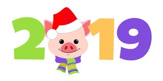 A pig for new year 2019. Symbol in the Chinese calendar the of the 2019 Year. Vector. For design royalty free illustration
