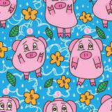 Pig no money sad seamless pattern. This illustration is drawing abstract sadness and unhappy pig no money saving very headache awareness in blue color sky and Royalty Free Stock Photography