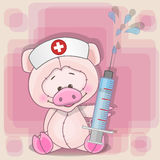 Pig nurse. With a syringe in his hand vector illustration
