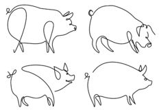 Pig one line drawing. Set of abstract one line drawing pigs stock illustration