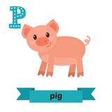 Pig. P letter. Cute children animal alphabet in vector. Funny ca Stock Photo
