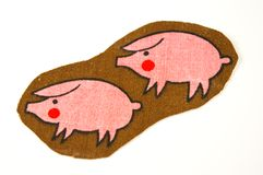 Pig pattern on fabric Stock Photography