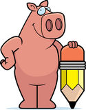 Pig Pencil. A cartoon pig with a pencil Royalty Free Stock Photography