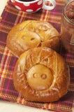Pig pies with apple jam Stock Photos