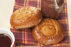 Pig pies with apple jam Royalty Free Stock Images