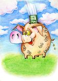 Pig piggy bank. With dollars. (hand graph stock illustration