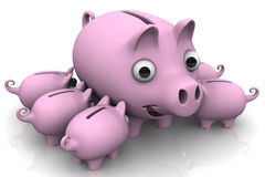 Pig piggy bank with children. Little pink pig-piggy suck a big sow. . 3D Illustration Stock Photos