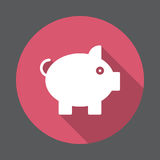 Pig, Piggy bank flat icon. Round colorful button, circular vector sign with long shadow effect. Flat style design Royalty Free Stock Photography