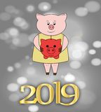 Pig with piggy Bank. Gold inscription, animal, new year, figures vector illustration
