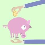 Pig piggy bank. Hand putting coin into piggy bank Stock Photo