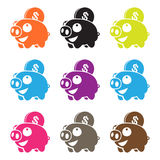 Pig piggy bank  , mutiple color. Adobe ilustrator CS 6 aviliable Stock Photos
