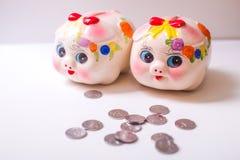 The pig piggy bank. Porcelain painted money pig, piggy bank Royalty Free Stock Photos