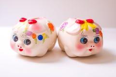 The pig piggy bank. Porcelain painted money pig, piggy bank Stock Images