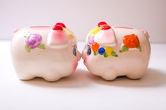 The pig piggy bank. Porcelain painted money pig, piggy bank Royalty Free Stock Images