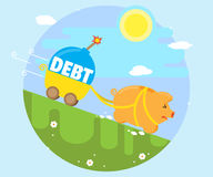 Pig piggy bank runs downhill with a trolley, in which lies the debt bomb. The concept of bad debt. Cartoon, flat style Stock Images